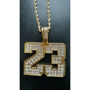 "Other - 14k Gold Iced Out Pendant 24"" Rope Chain Necklace"